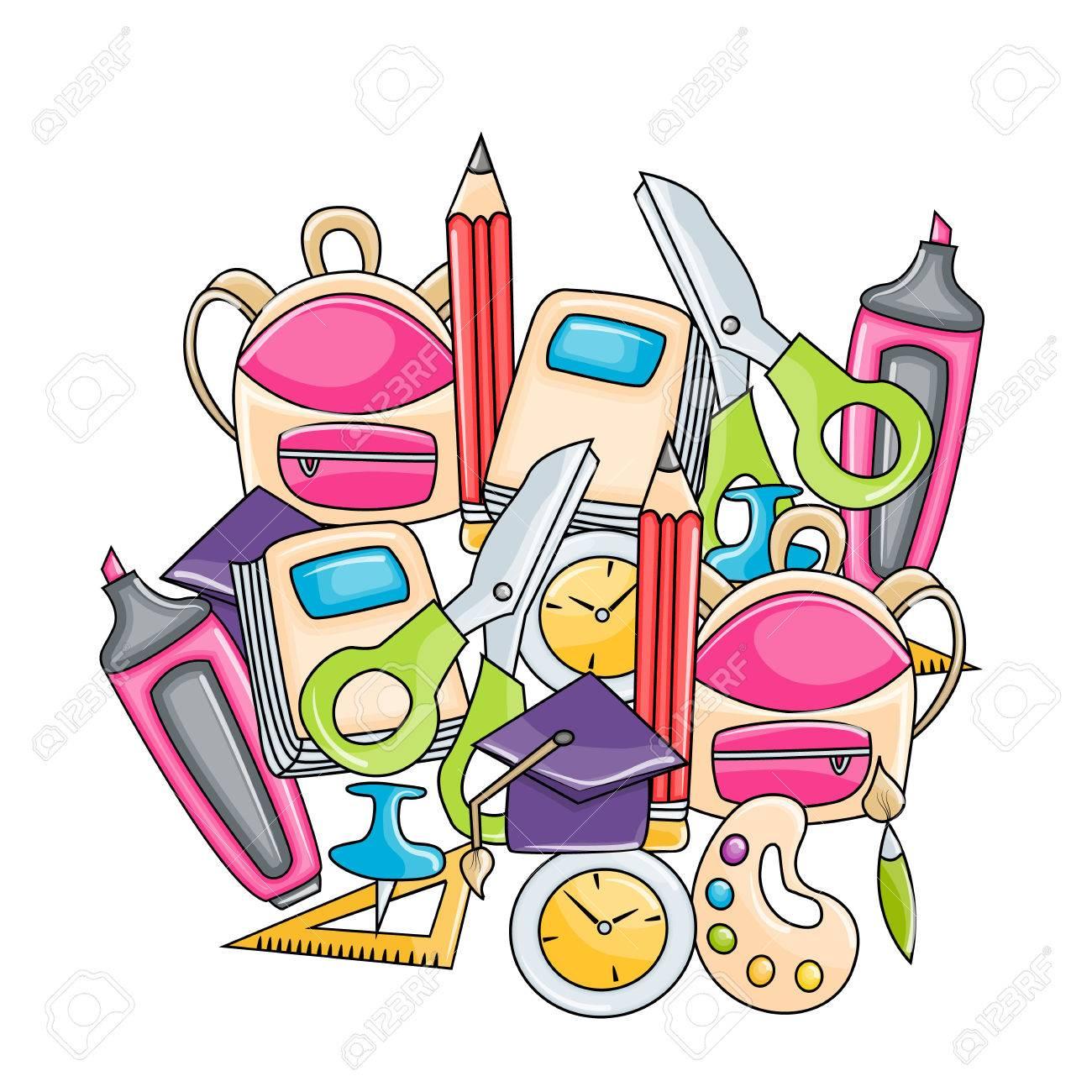 学校の要素クリップアートが漫画のスタイルの設定。手は、ベクトル