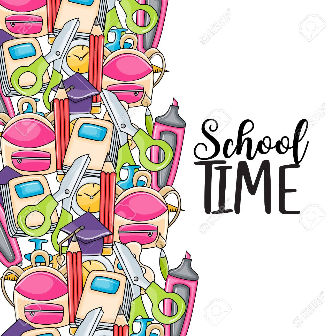 school time doodle clip art greeting card cartoon vector rh 123rf com  greeting cardsclipart free