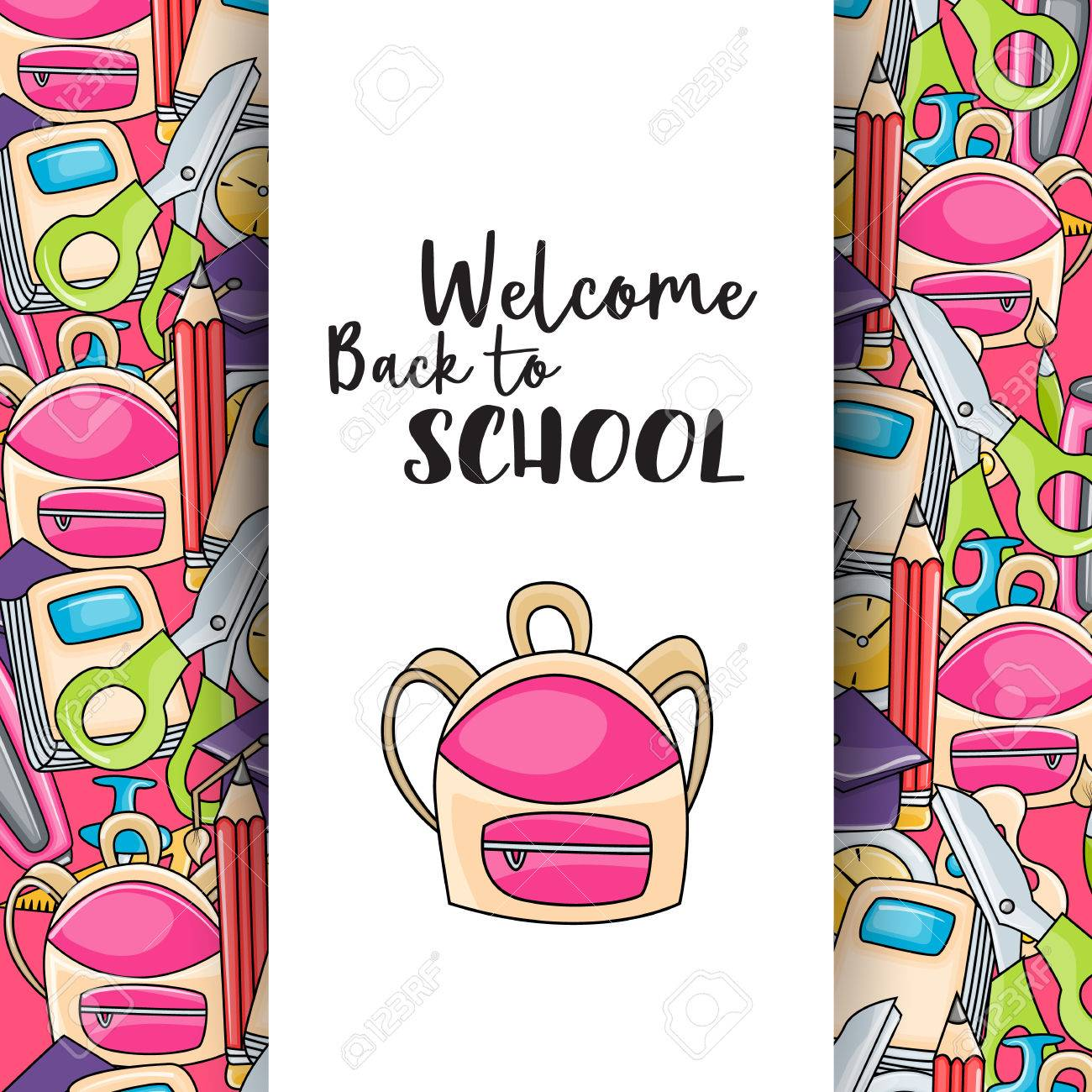 Welcome back to school doodle clip art greeting card cartoon vector welcome back to school doodle clip art greeting card cartoon vector illustration for flyer to banner typography script text m4hsunfo