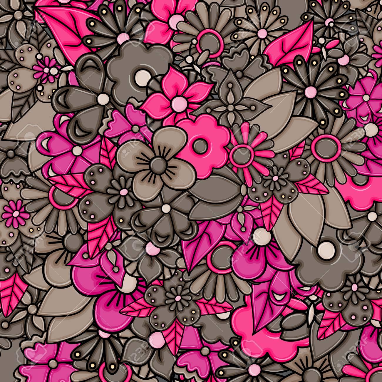 Fond De Carte De Dessin Animé De Fleurs Dessinés à La Main Concept De Printemps Ou Dété Illustration Vectorielle Doodle Couleur Rose Et Brune