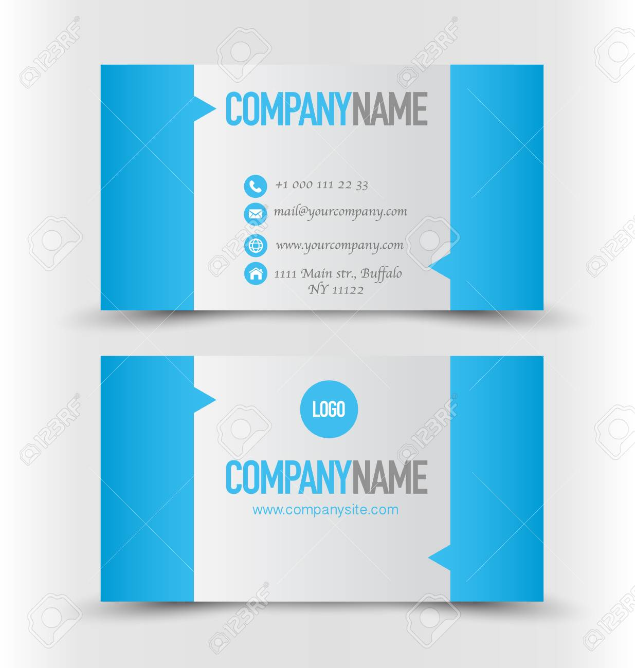 Business Card Set Template Blue And Silver Color Corporate