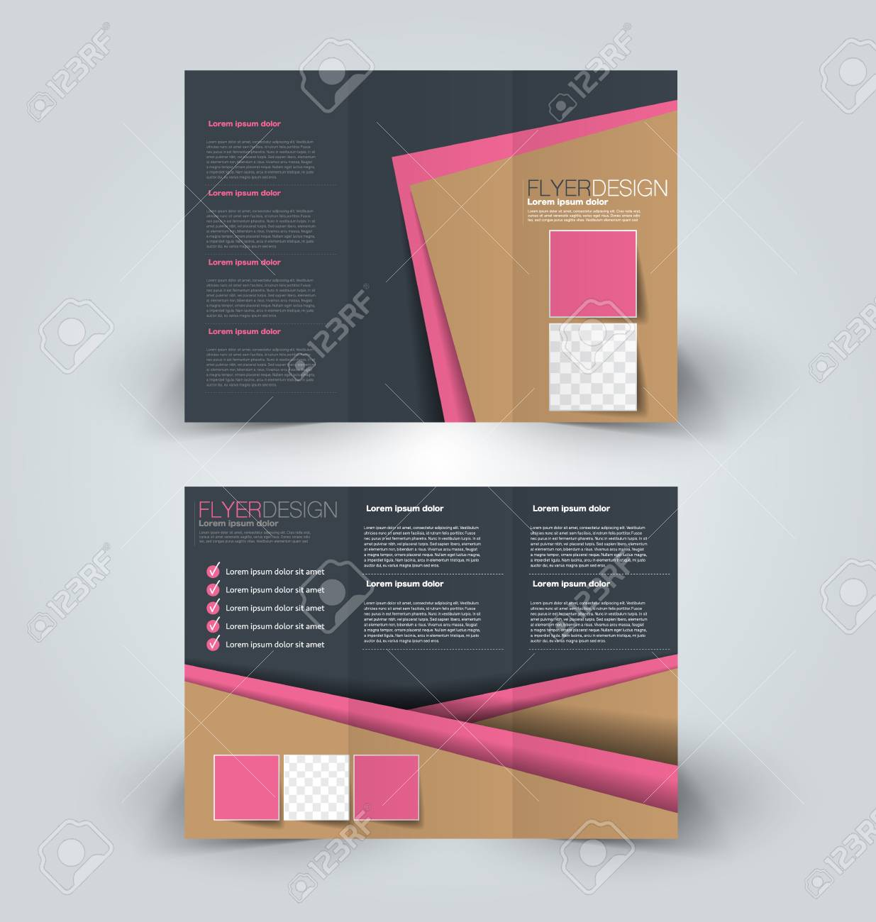 Tri Fold Brochure Design Creative Business Flyer Template Editable Vector Illustration Brown And