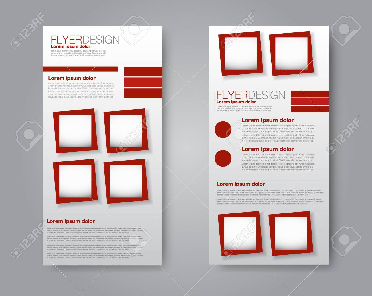 vector vector flyer and leaflet design set of two side brochure templates red color