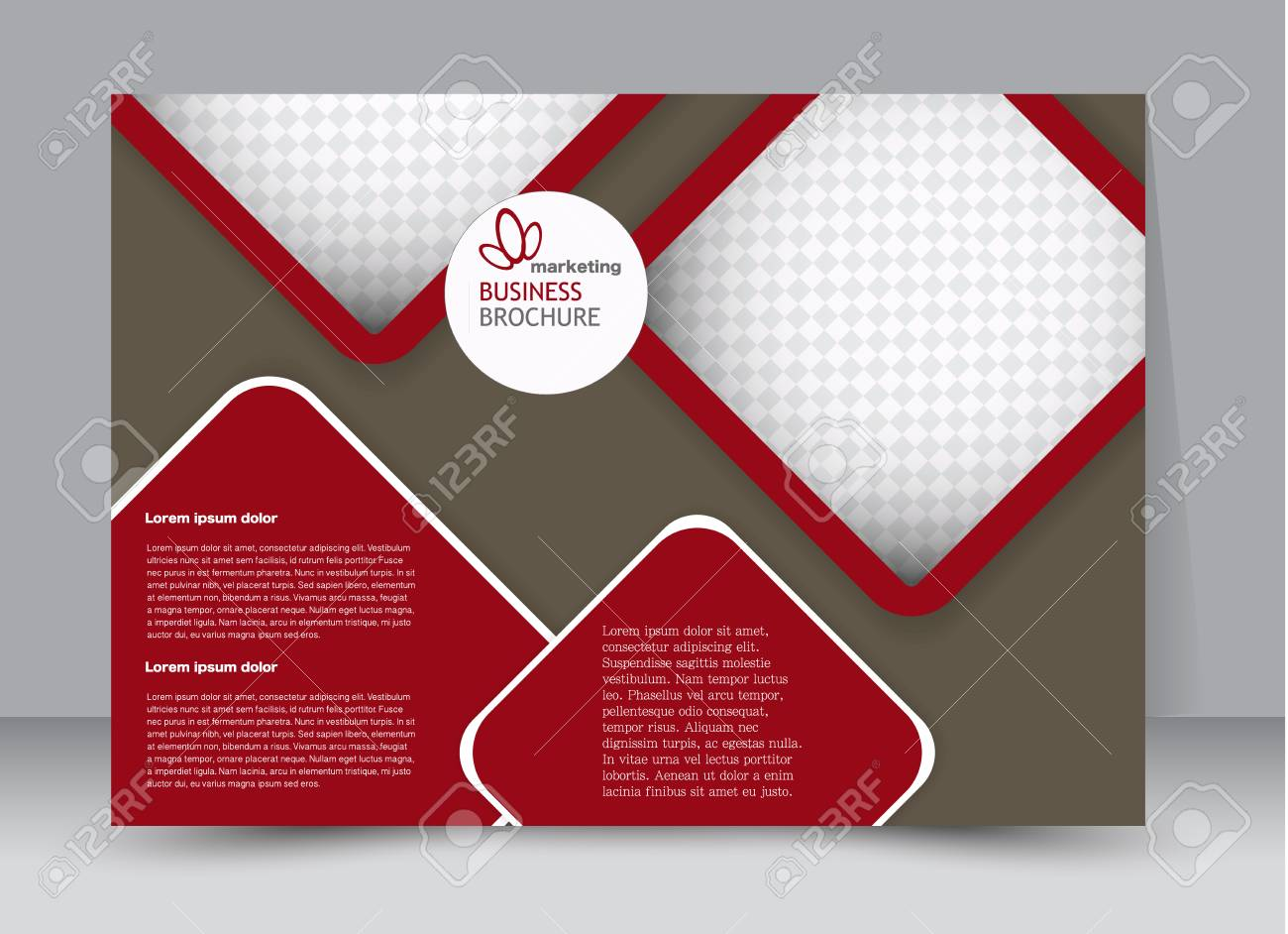 Marrón Y Rojo Paisaje Amplia Flyer O Plantilla De Folleto. Diseño De ...