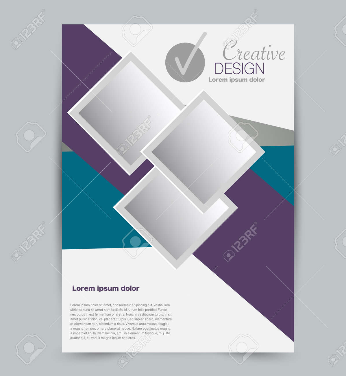 Flyer template. Design for a business, education, advertisement brochure, poster or pamphlet. Vector illustration. Blue and purple color. - 126874894