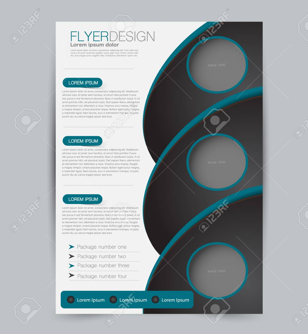 Flyer template. Design for a business, education, advertisement brochure, poster or pamphlet. Vector illustration. Black and blue color. - 126875197