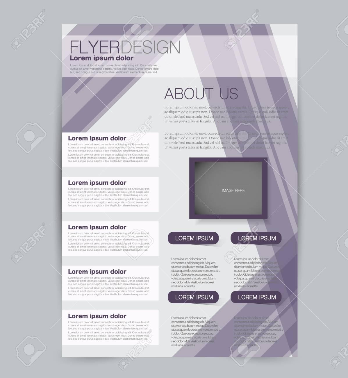 Flyer template. Design for a business, education, advertisement brochure, poster or pamphlet. Vector illustration. Purple color. - 126878930