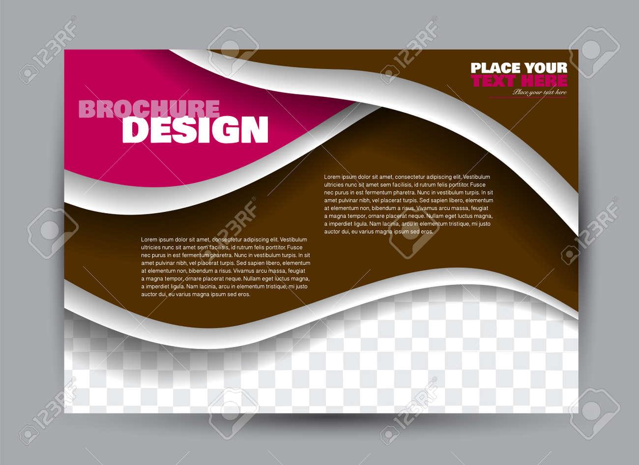 Flyer, brochure, billboard template design landscape orientation for business, education, school, presentation, website. Brown and pink color. Editable vector illustration. - 126834746