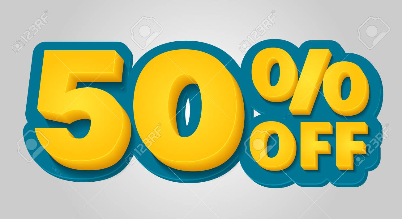 50% off discount banner. Special offer sale tag in 3d style. Blue and yellow vector illustration. - 117708327
