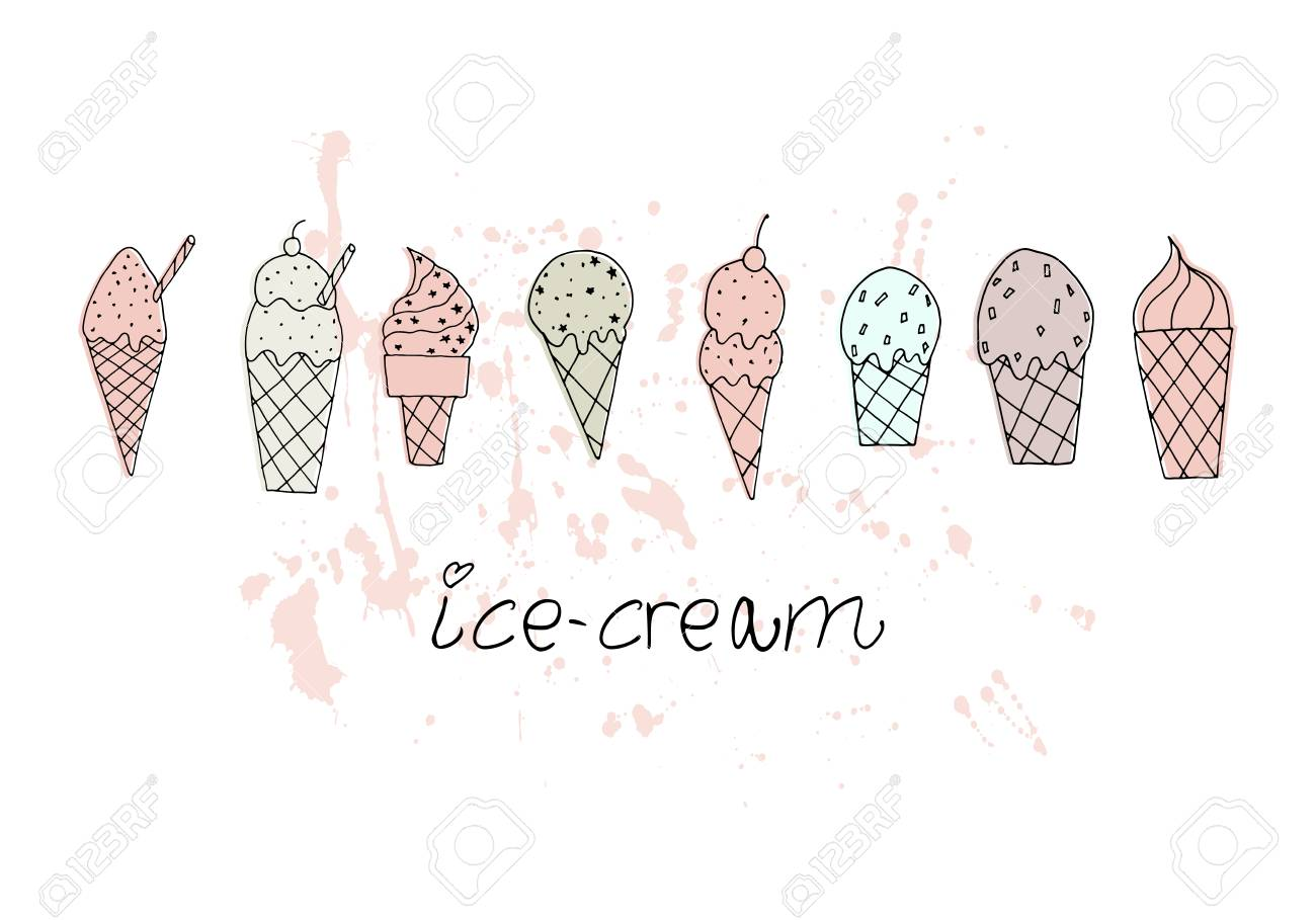 Vector illustration. Stylized ice cream set. Print design element. Cute vector objects. - 100900733