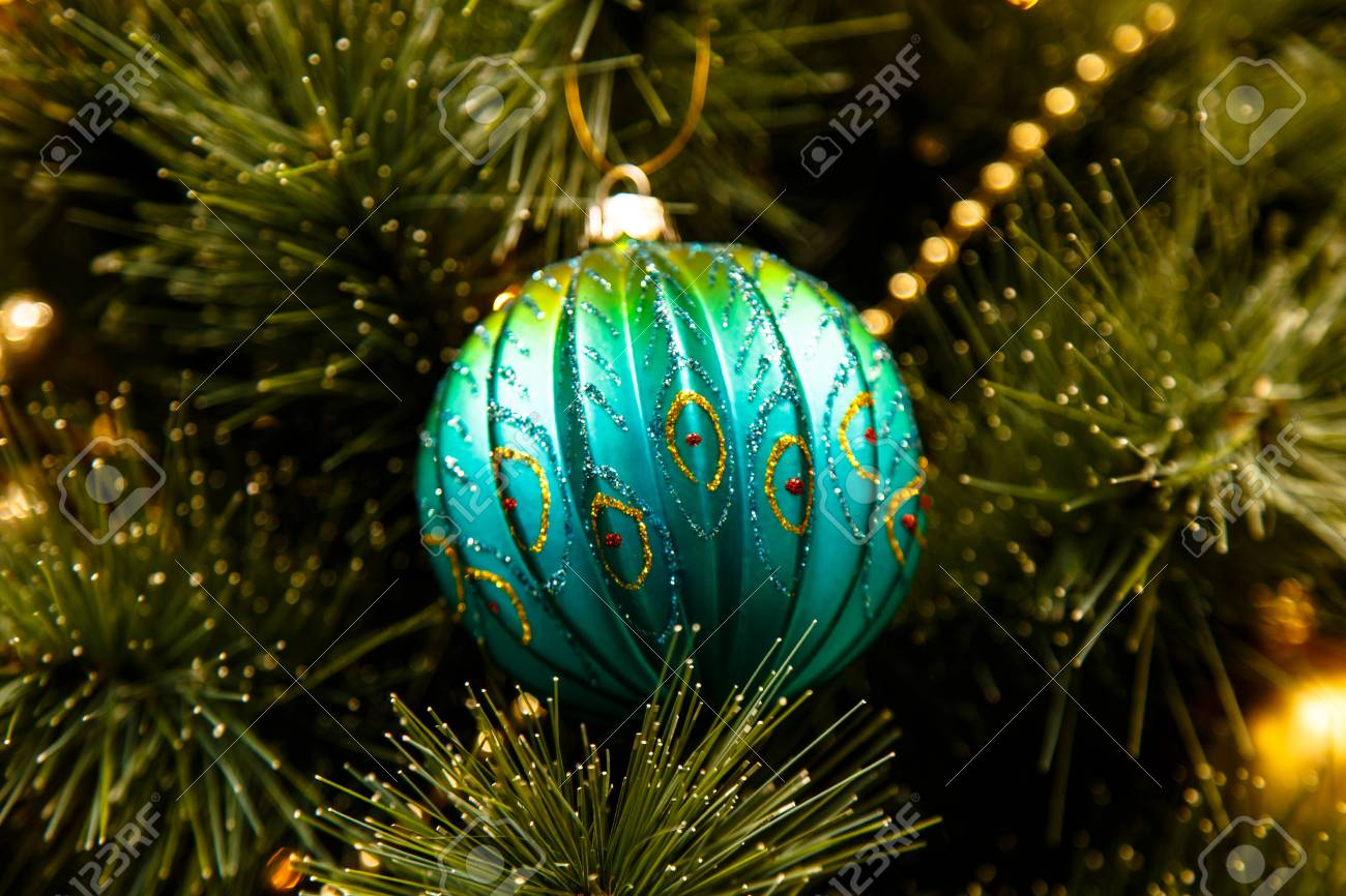 Turquoise Shining With Gold Pattern Ball Hanging On The Branch Stock Photo Picture And Royalty Free Image Image 67974478