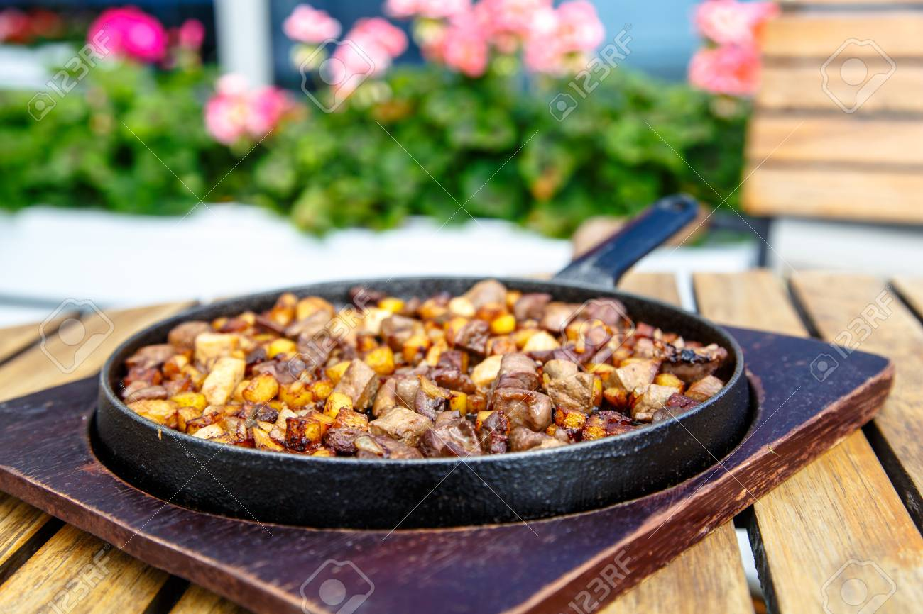 The Azerbaijan cuisine  Fried potatoes with meat and liver