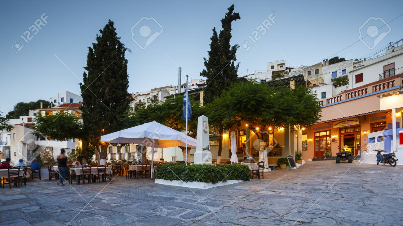 View Of Ioulida Village On Kea Island In Greece. Stock Photo ...