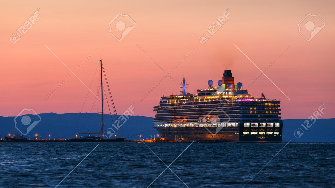 Cruise Ship In The Port Of Argostoli Town On Kefalonia Island