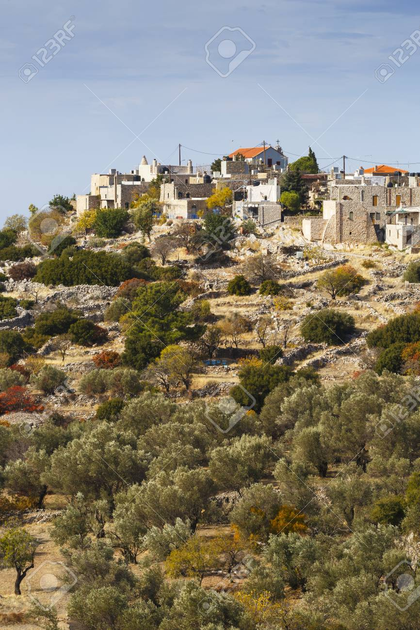 View Of Avgonima Village And Surrounding Gardens In Autumn Colours ...