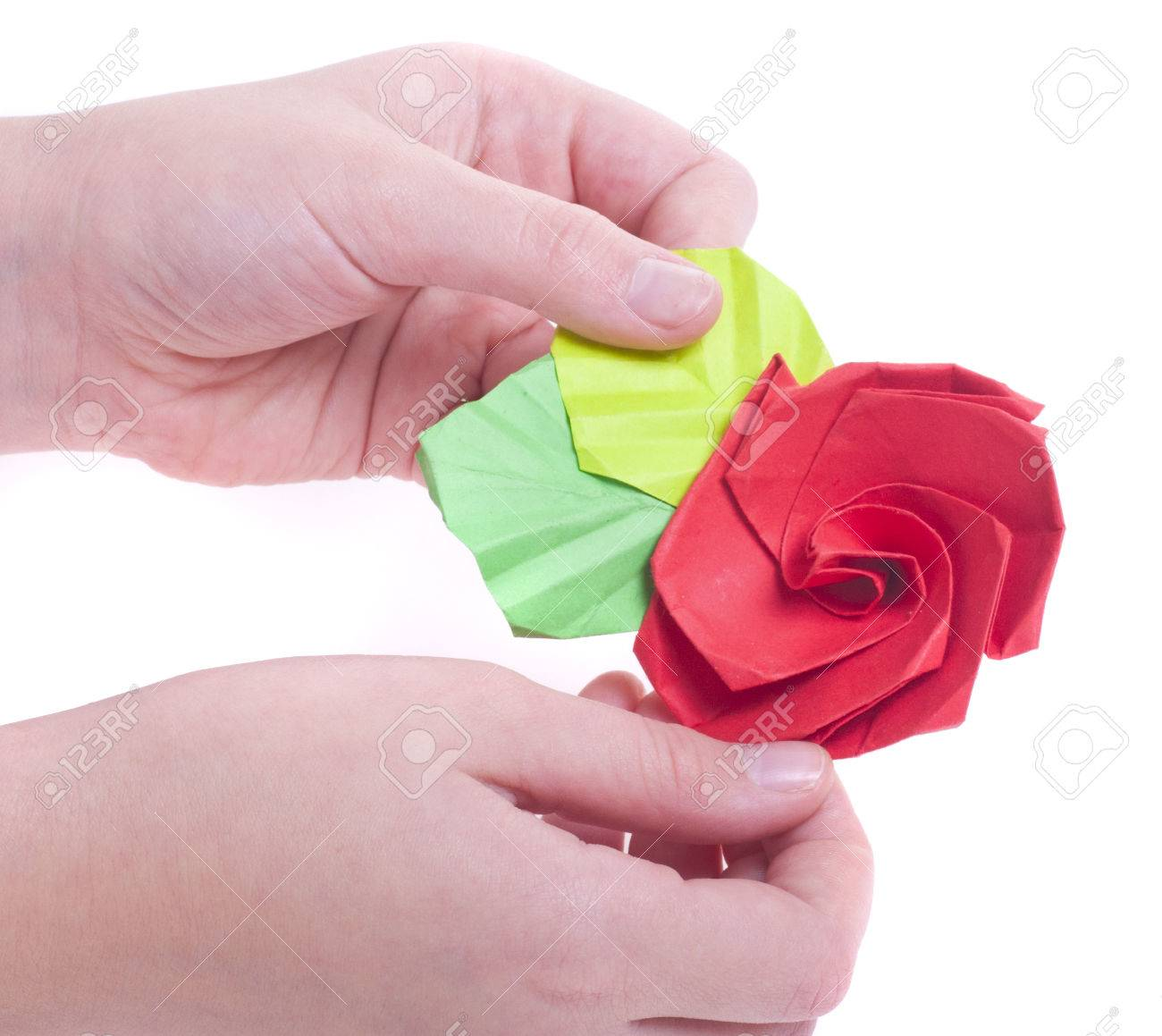 The Figure Of Origami Rose Flower On The Leaves Of Colored Paper