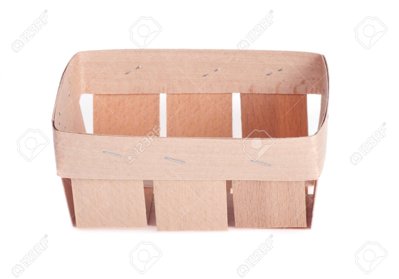 Small Flat Wooden Box For Natural Products On A White Background