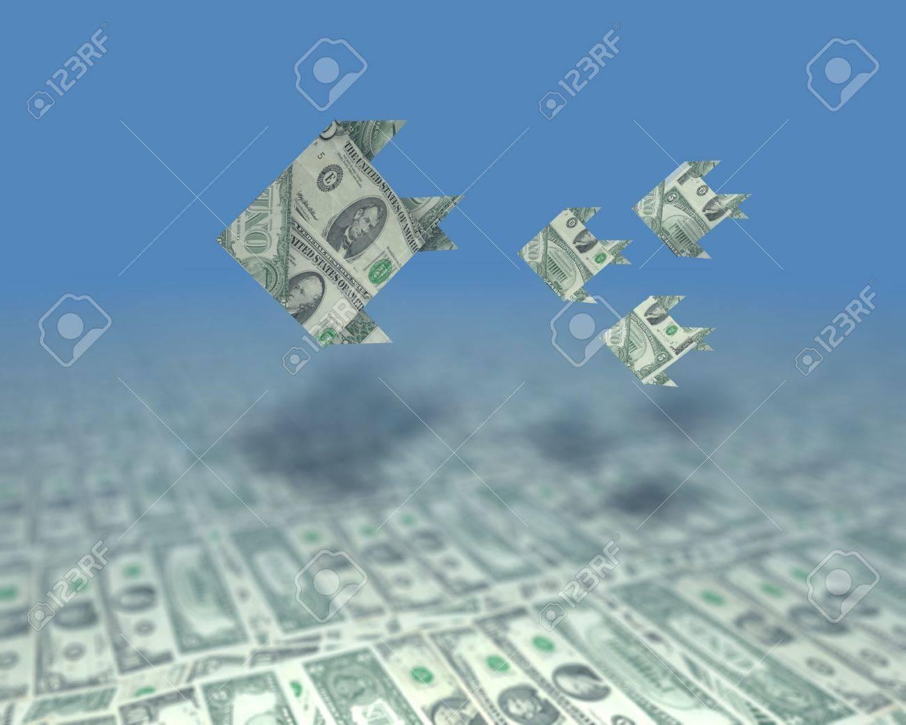 A small swarm of fish consisting of us dollars in an ocean of a small swarm of fish consisting of us dollars in an ocean of money stock photo jeuxipadfo Choice Image
