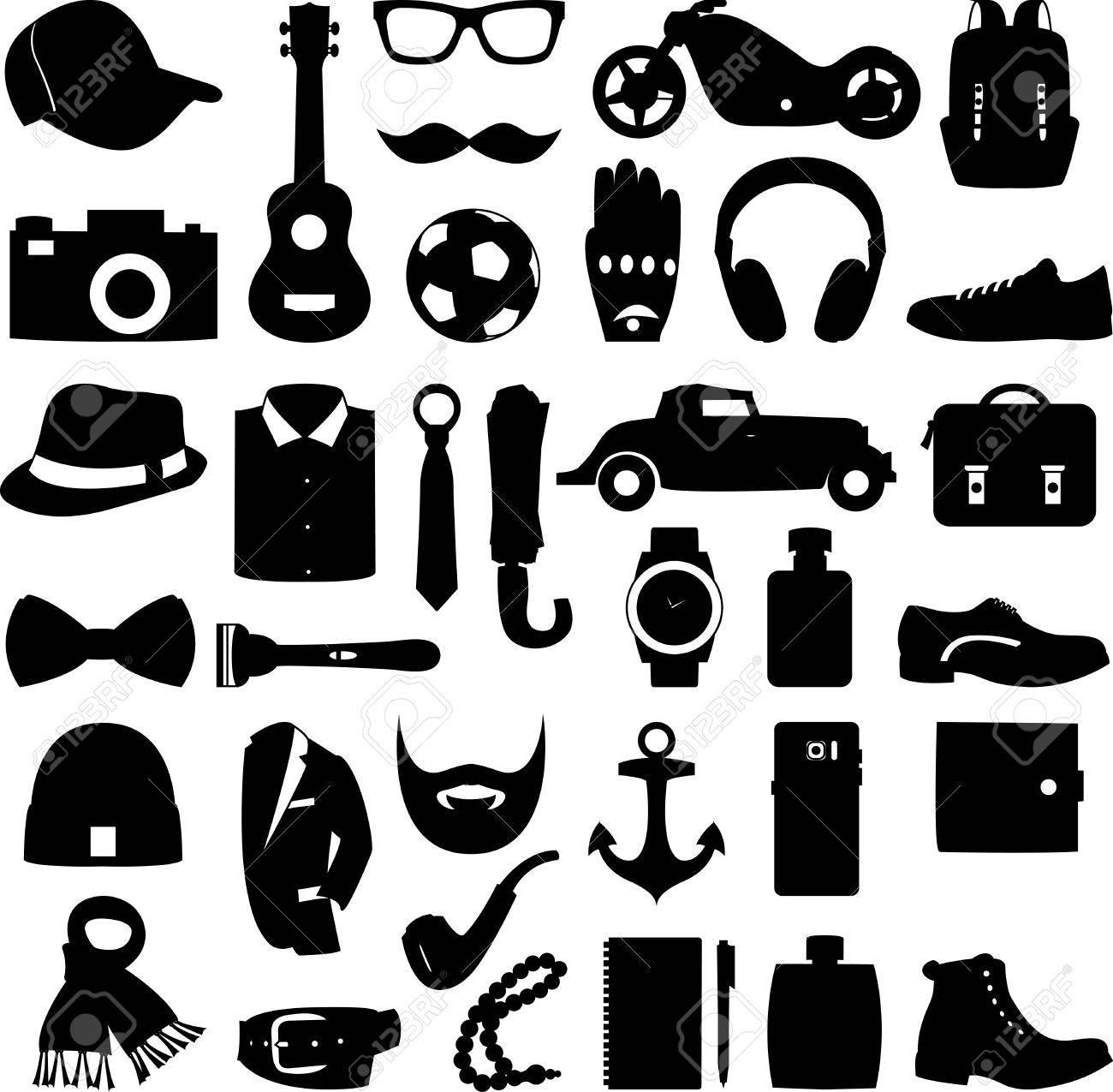 c2cfd39f Foto de archivo - Ilustración conjunto de accesorios de moda y estilo de  ropa y zapatos de los hombres