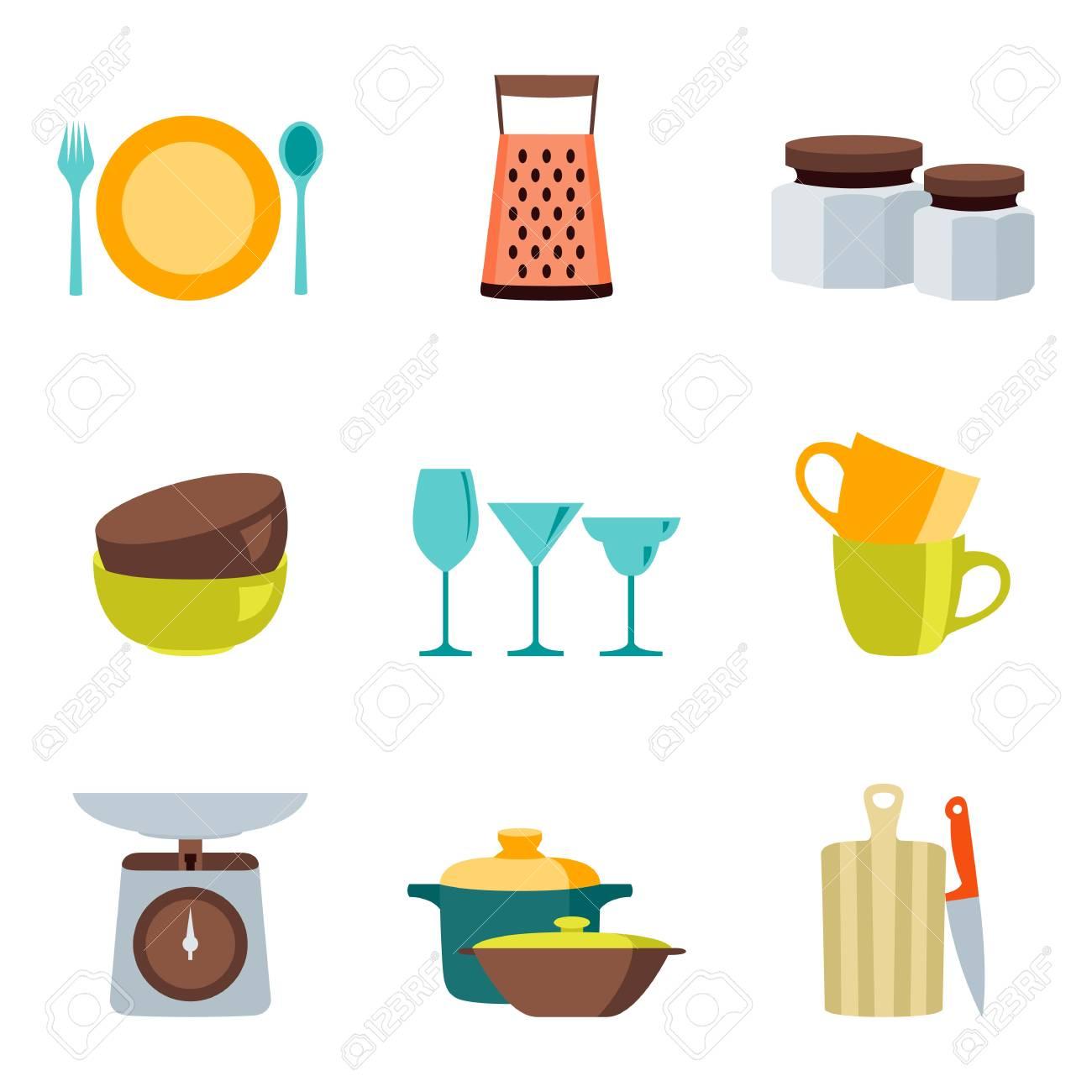 Icones De Couleur Design Plat Ustensiles De Cuisine Vector