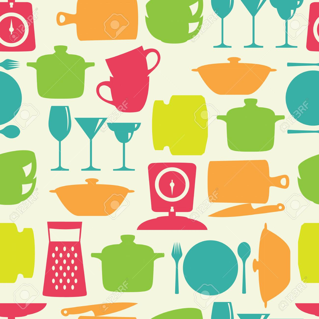 Küchenfliese Flache Farbe Design Silhouette Vektor Nahtlose Muster ...