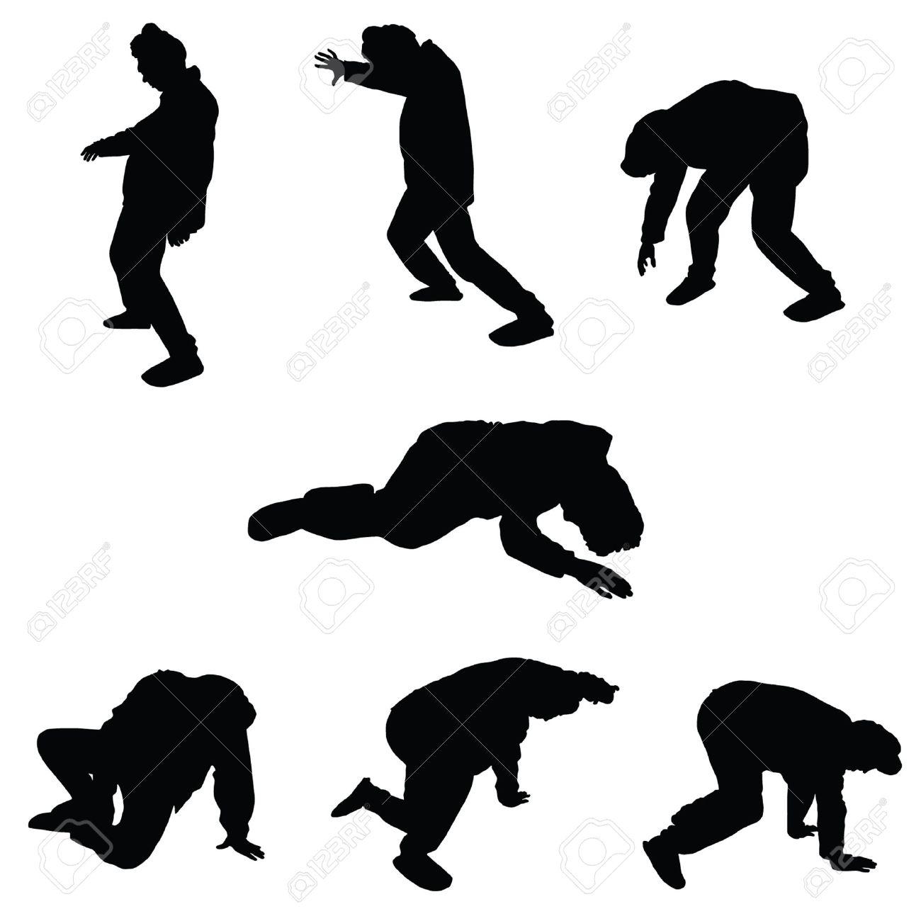 drunk man vector silhouette illustration - 33873892