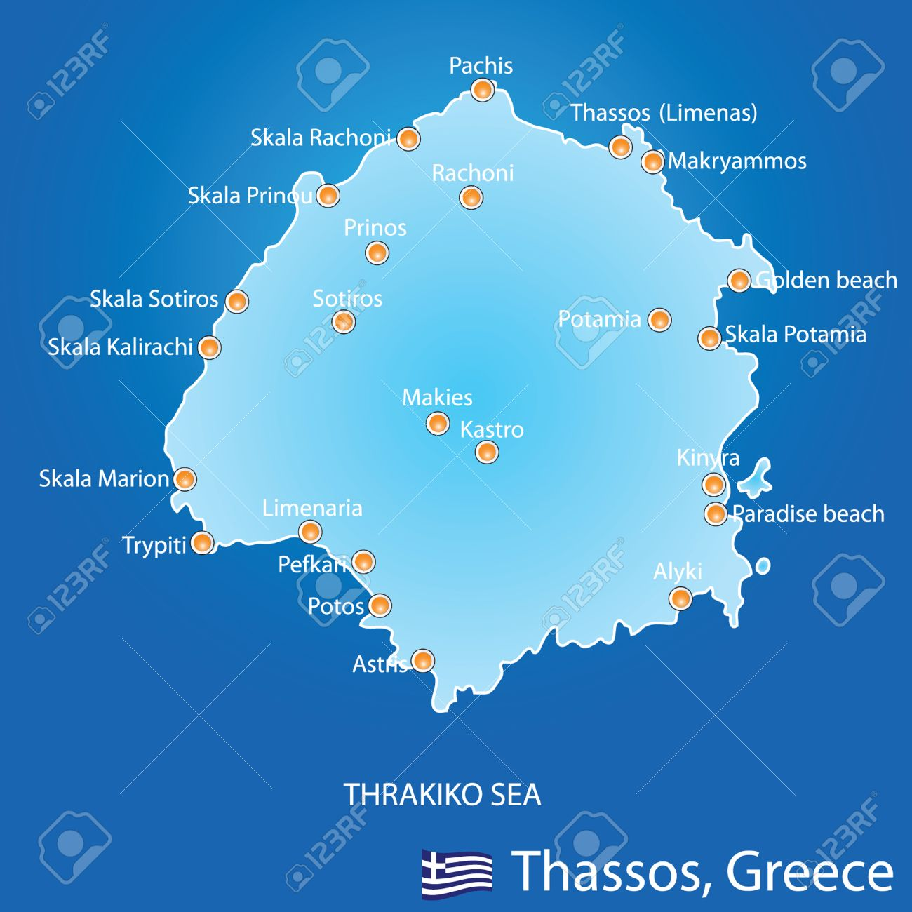 Island Of Thassos In Greece Map On Blue Background Royalty Free