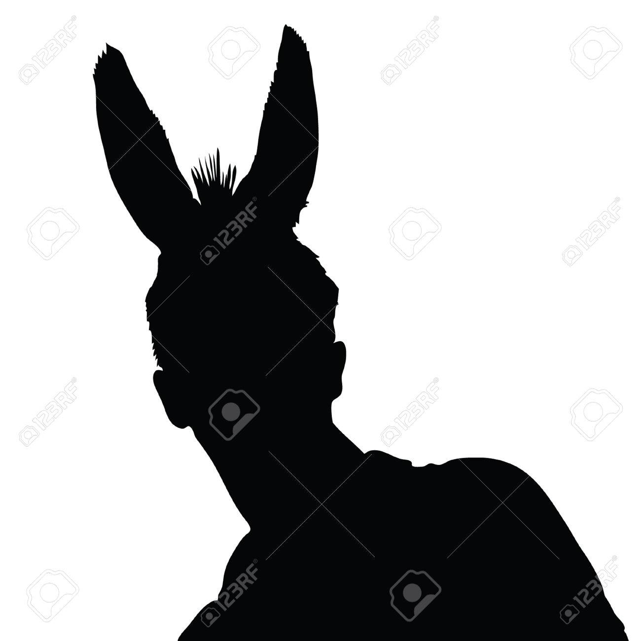 Man With Donkey Ears Vector Illustration Royalty Free Cliparts ...