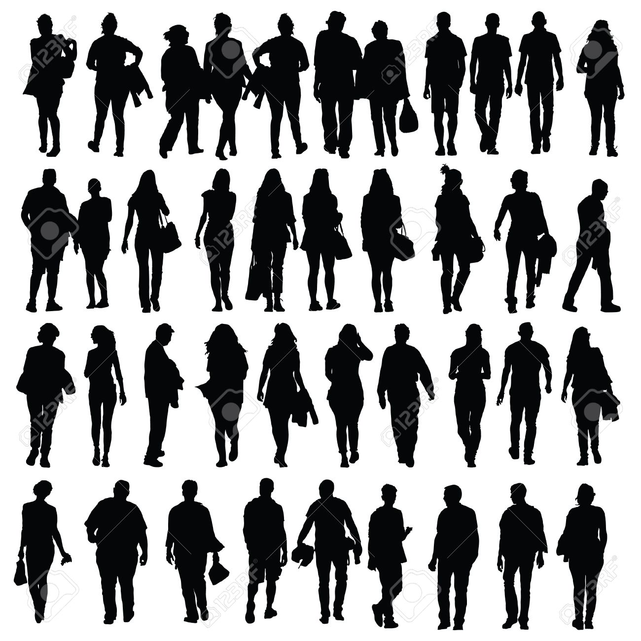 people walking silhouette vector black on white royalty free rh 123rf com silhouette vector frames silhouette vectoriel gratuit