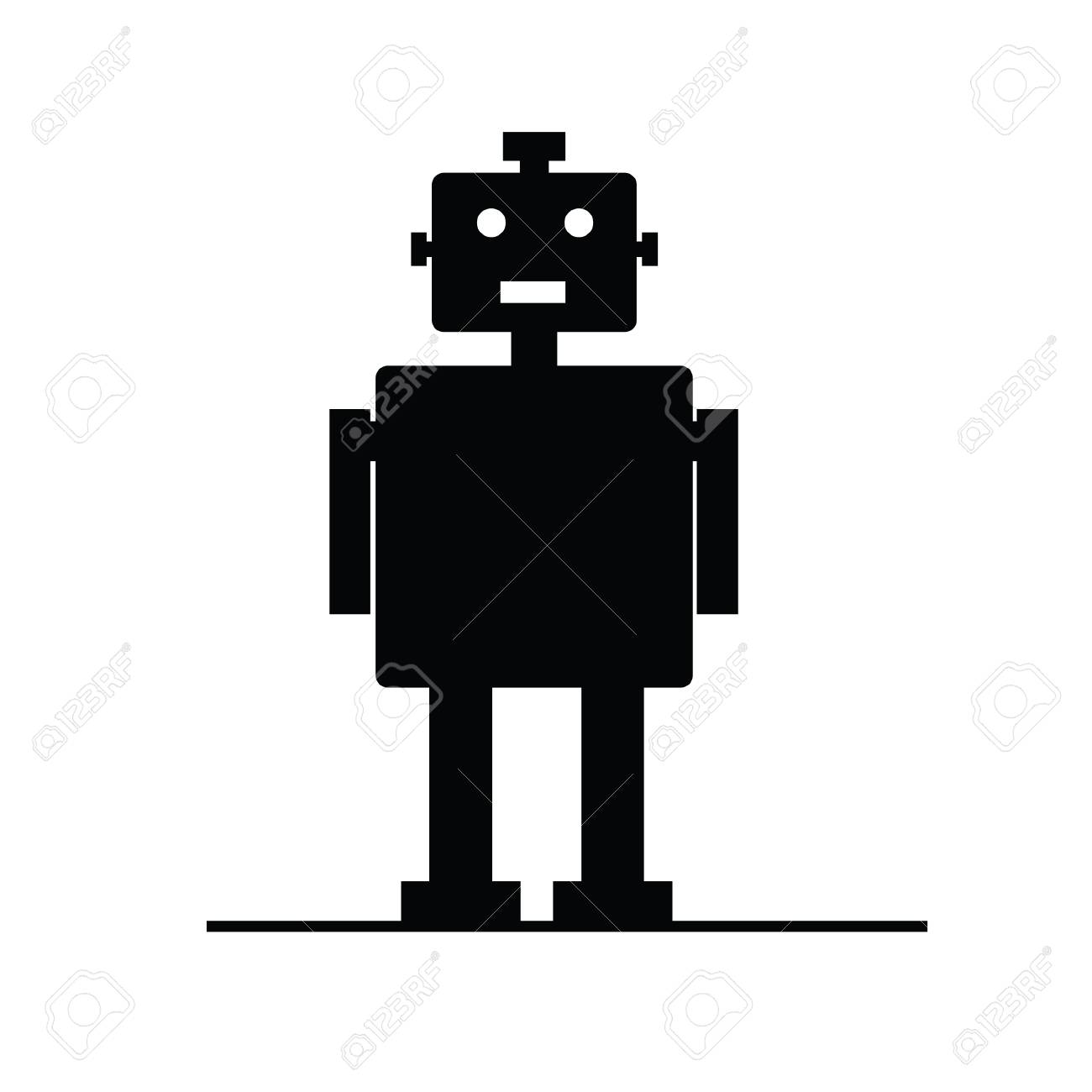 robot vector silhouette art illustration on white royalty free rh 123rf com robot vector lely robot vectoriel