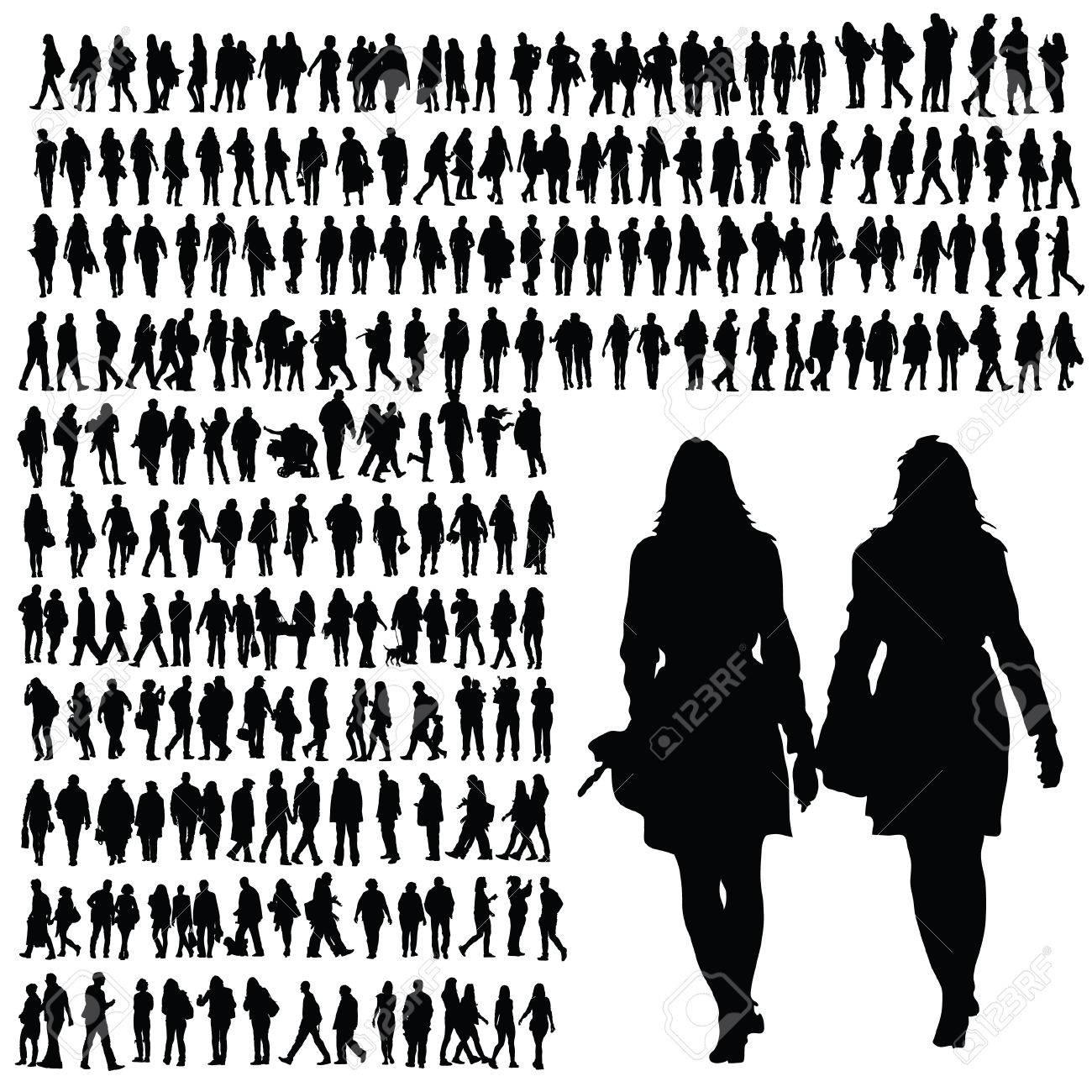 People Walking Silhouette Black Illustration On White Stock Vector
