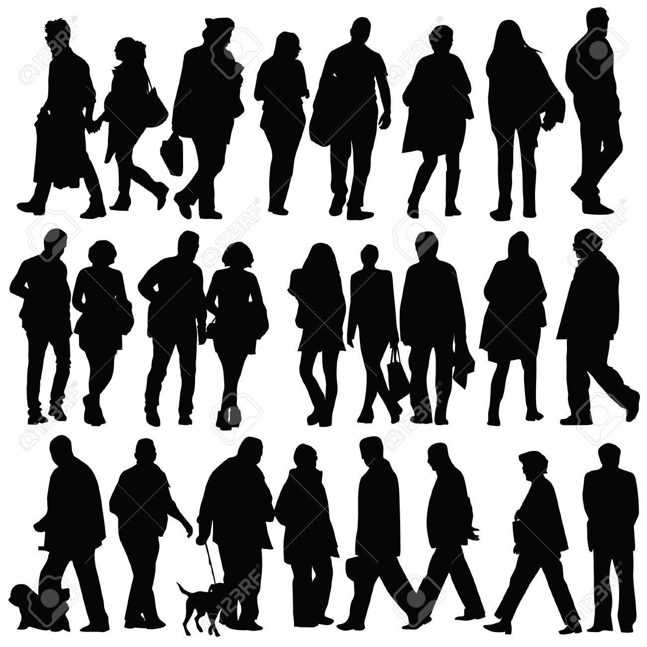白い背景の上を歩く人のシルエットのイラスト素材ベクタ Image 48898607