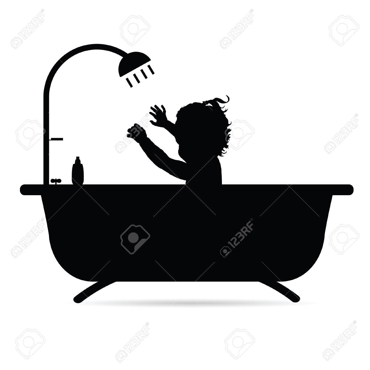 Vasca Da Bagno vasca da bagno nera : Bambino Nella Vasca Da Bagno Illustrazione Silhouette In Nero ...
