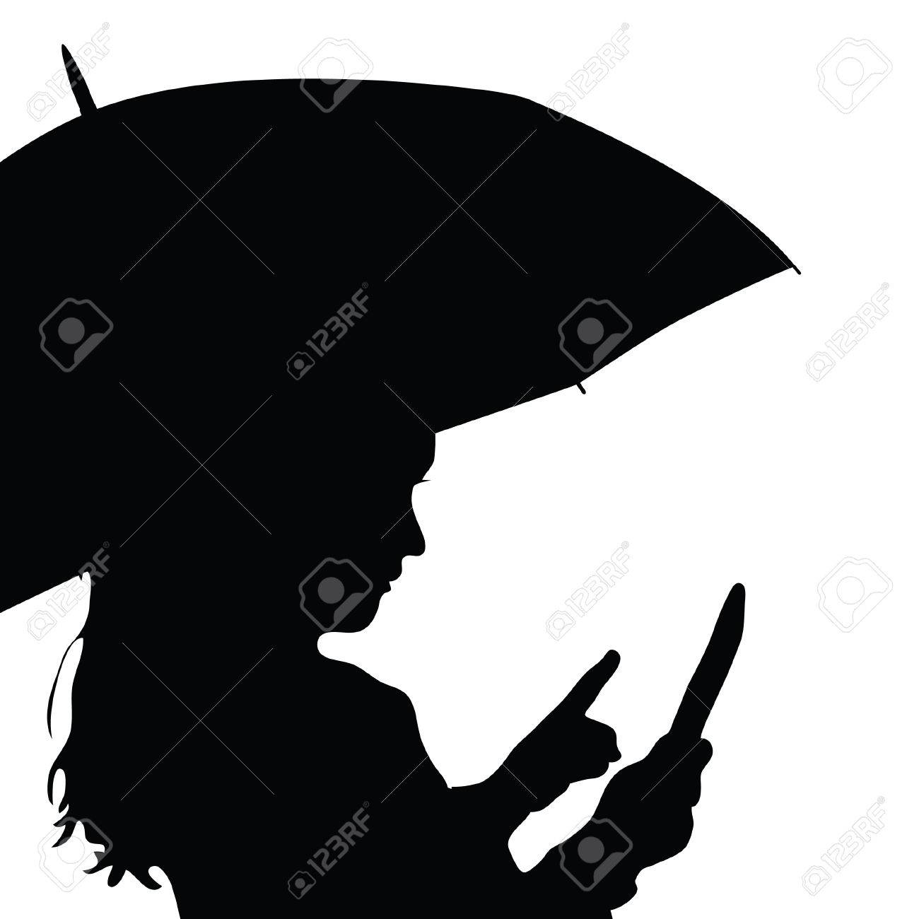 child with umbrella silhouette illustration in black royalty free