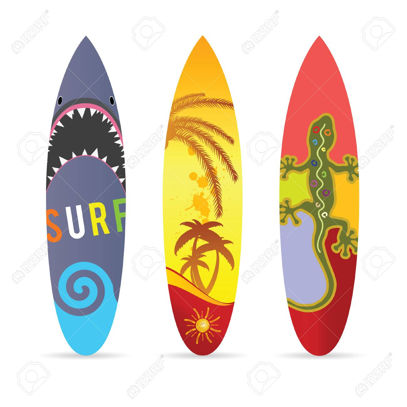 surf board set in various color illustration on white royalty free