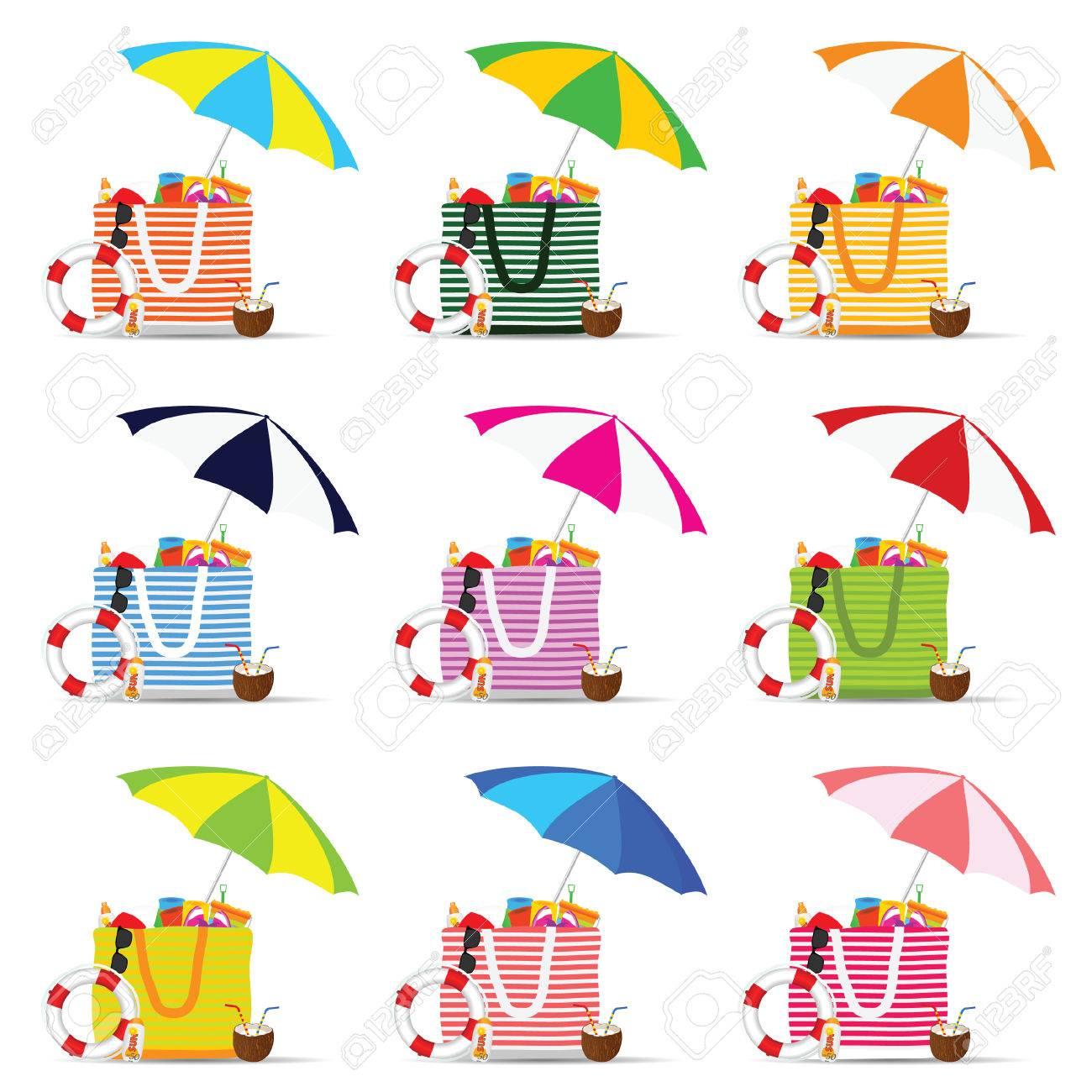 Bag For Beach With Stuff Color Set Design Illustration Royalty Free ...