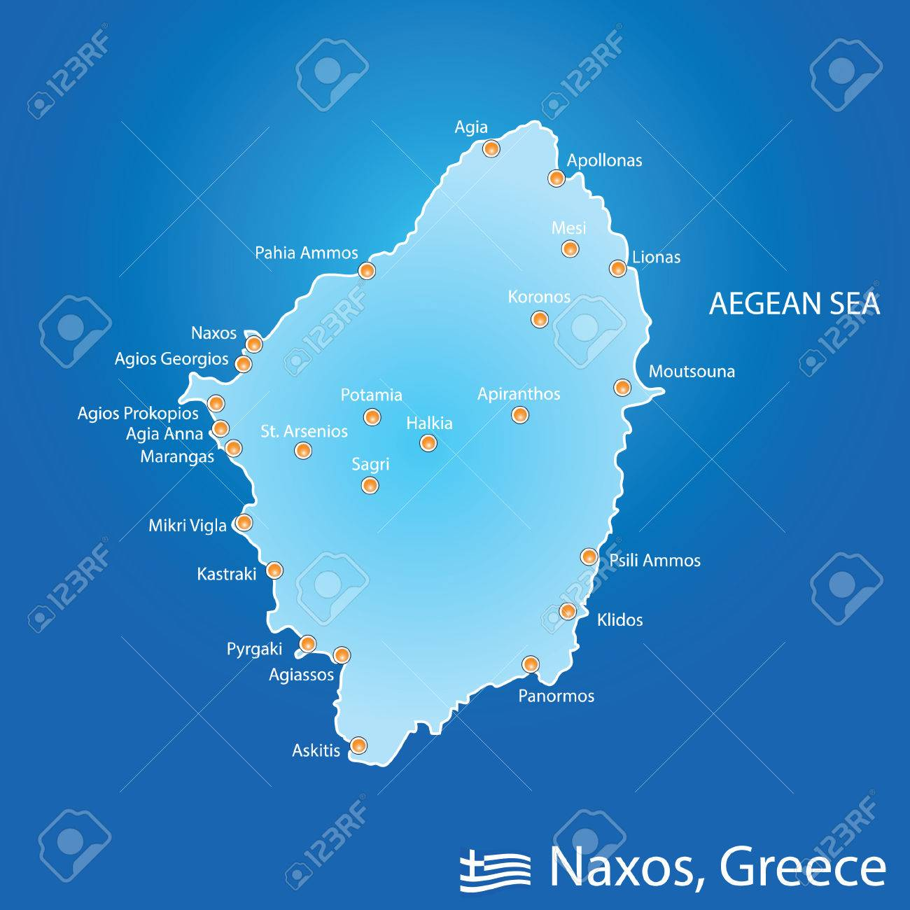Islands Of Greece Map.Island Of Naxos In Greece Map Illustration Design In Colorful