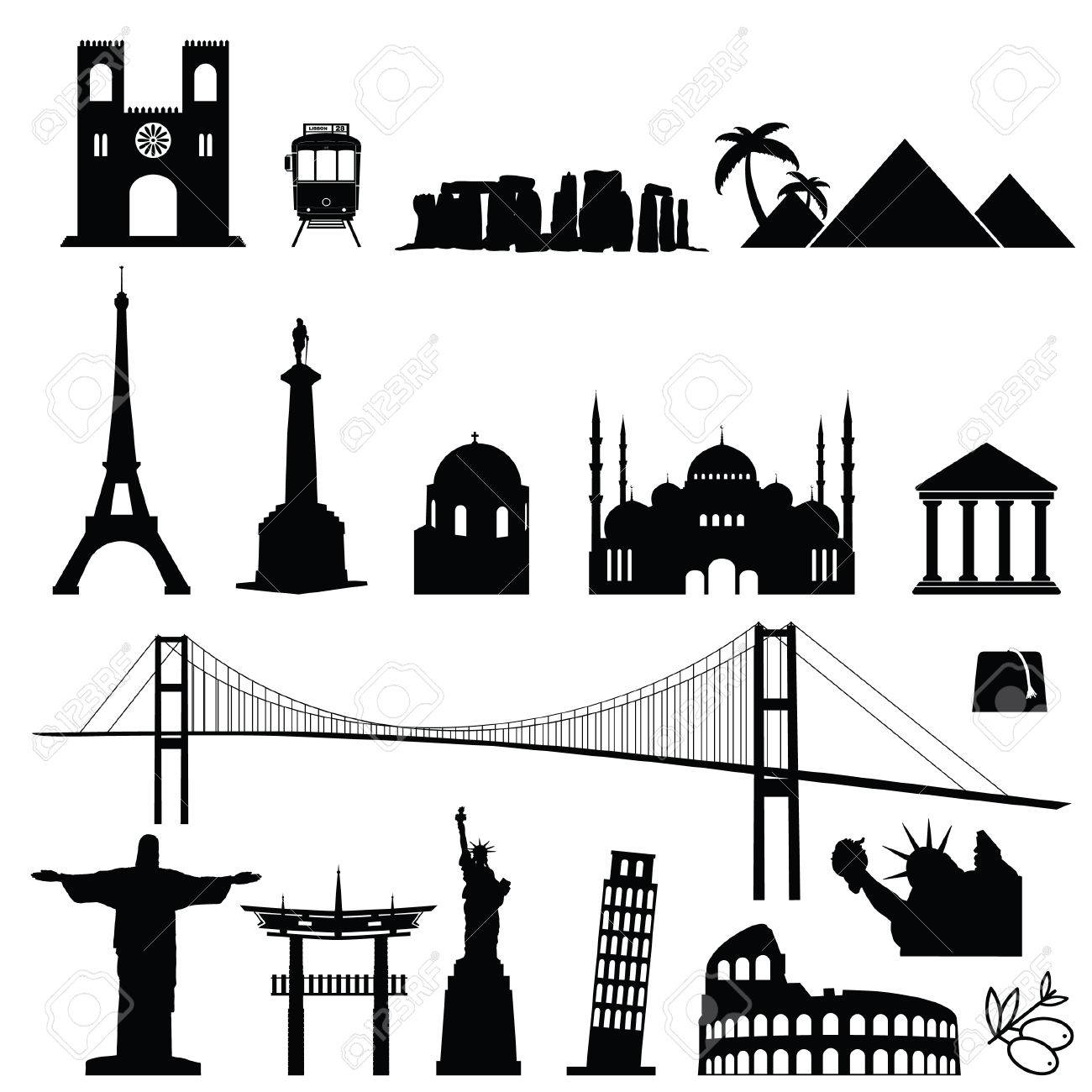 Famous world monument international set in black color art illustration stock vector 71090561