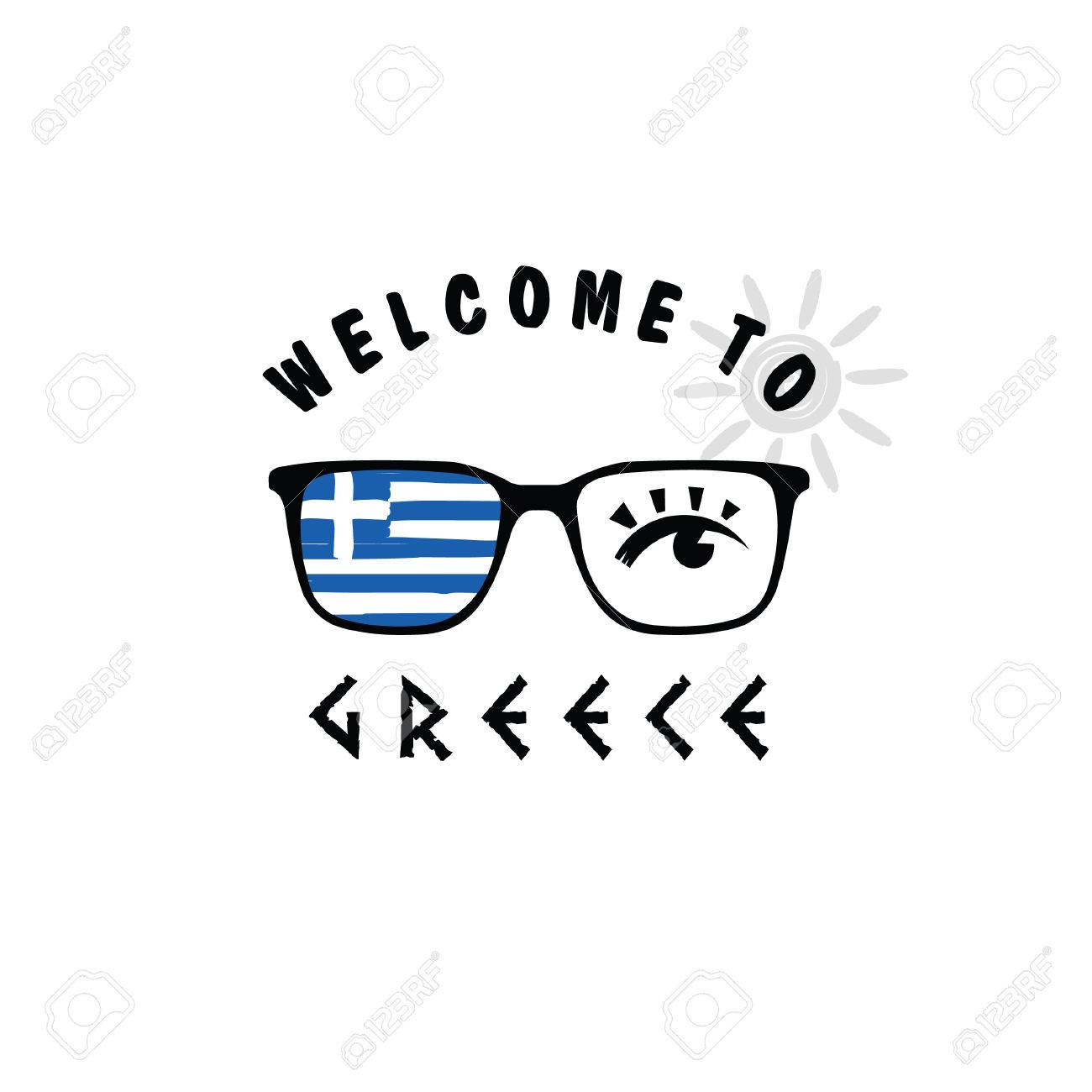 ca17ac8f18f Vector - welcome to greece icon paradise on sunglasses art illustration