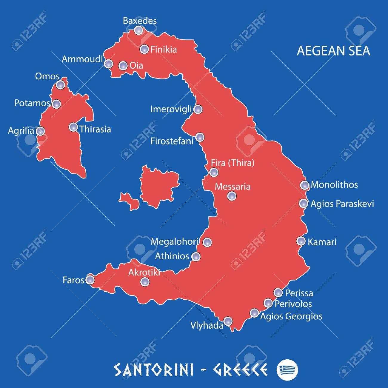 Isla De Santorini En Grecia Ilustracion De Mapa Rojo En Colorido