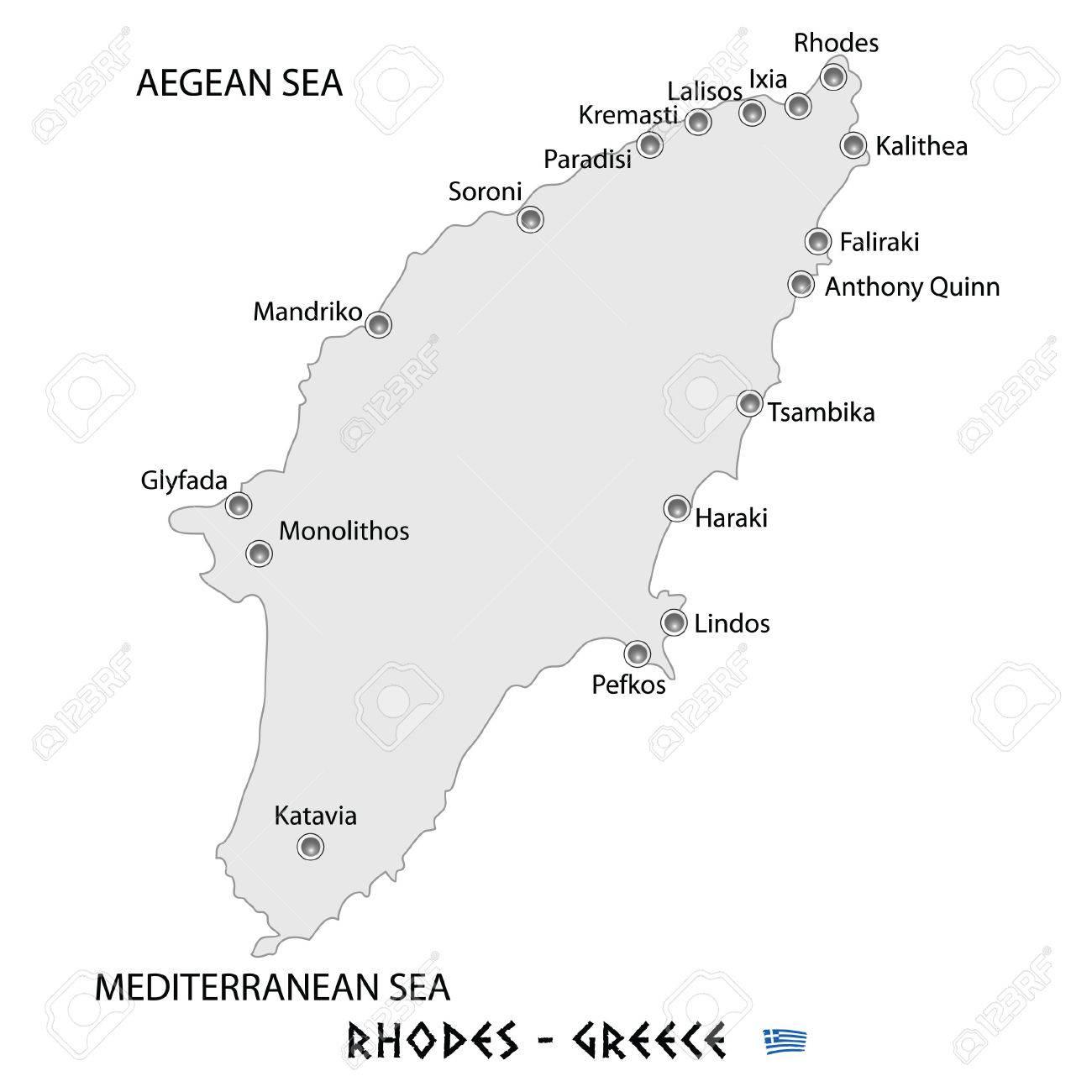 Isla De Rodas Mapa.Isla De Rodas En Grecia Ilustracion De Arte De Mapa Blanco