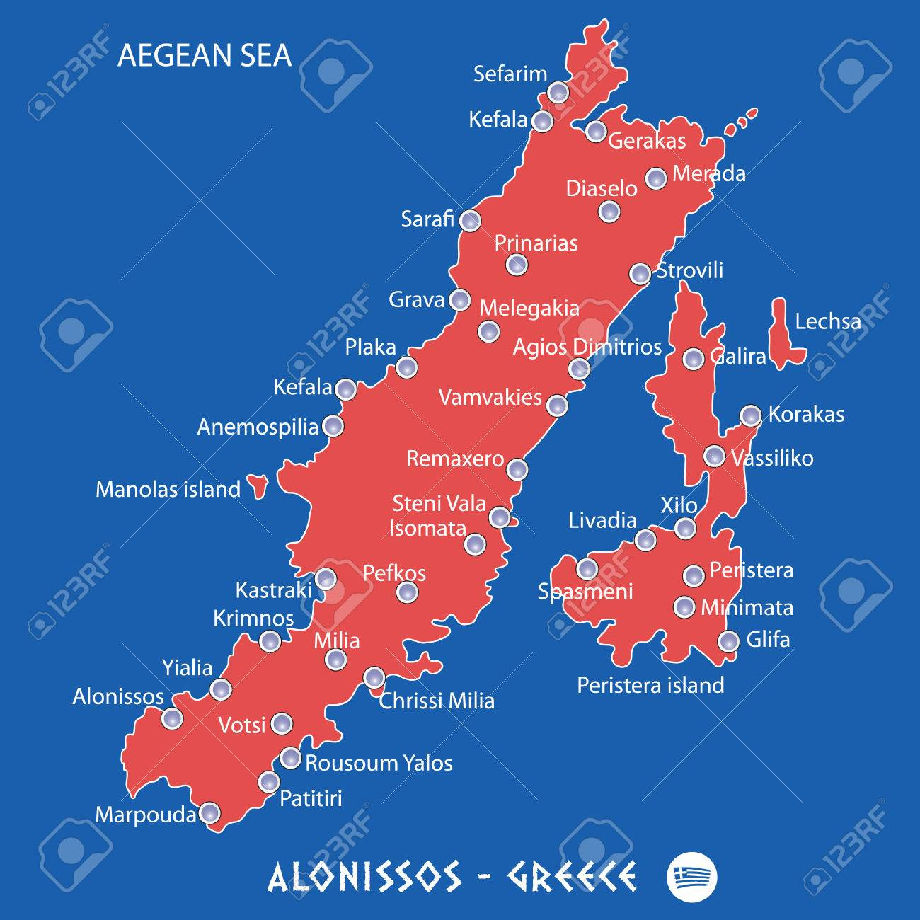 island of alonissos in greece red map illustration in colorful