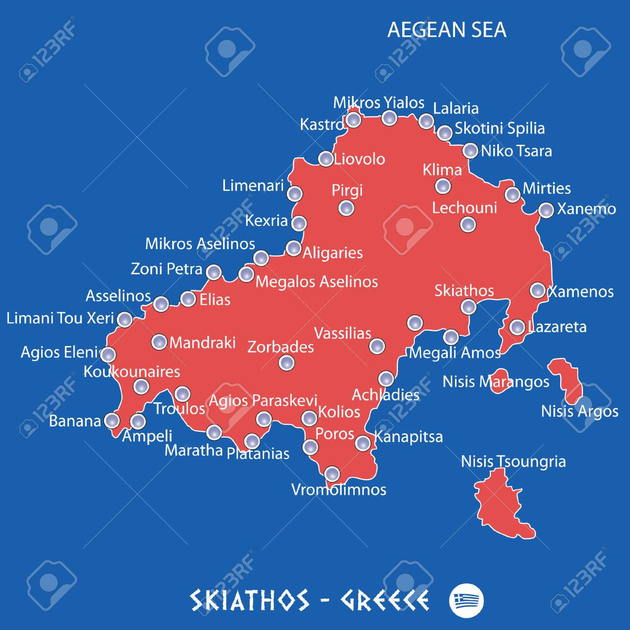 Island Of Skiathos In Greece Red Map Illustration In Colorful ...
