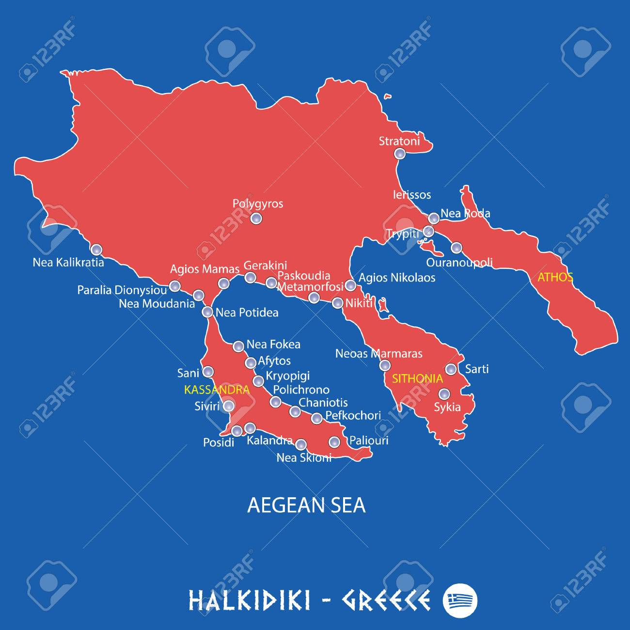 Peninsula Of Halkidiki In Greece Red Map Illustration In Colorful ...