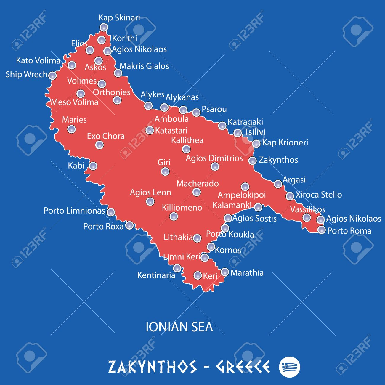 Island Of Zakynthos In Greece Red Map Illustration In Colorful