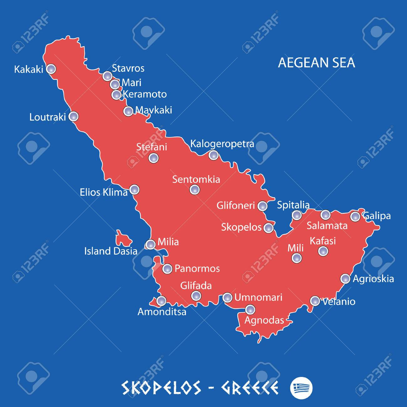 Island Of Skopelos In Greece Red Map Illustration In Colorful