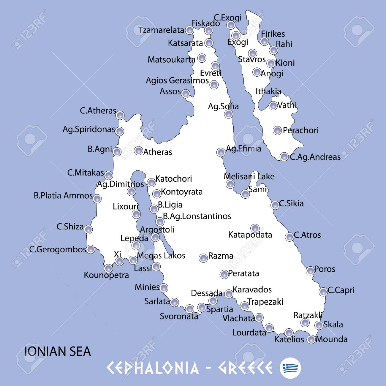 Island Of Cephalonia In Greece White Map And Blue Background