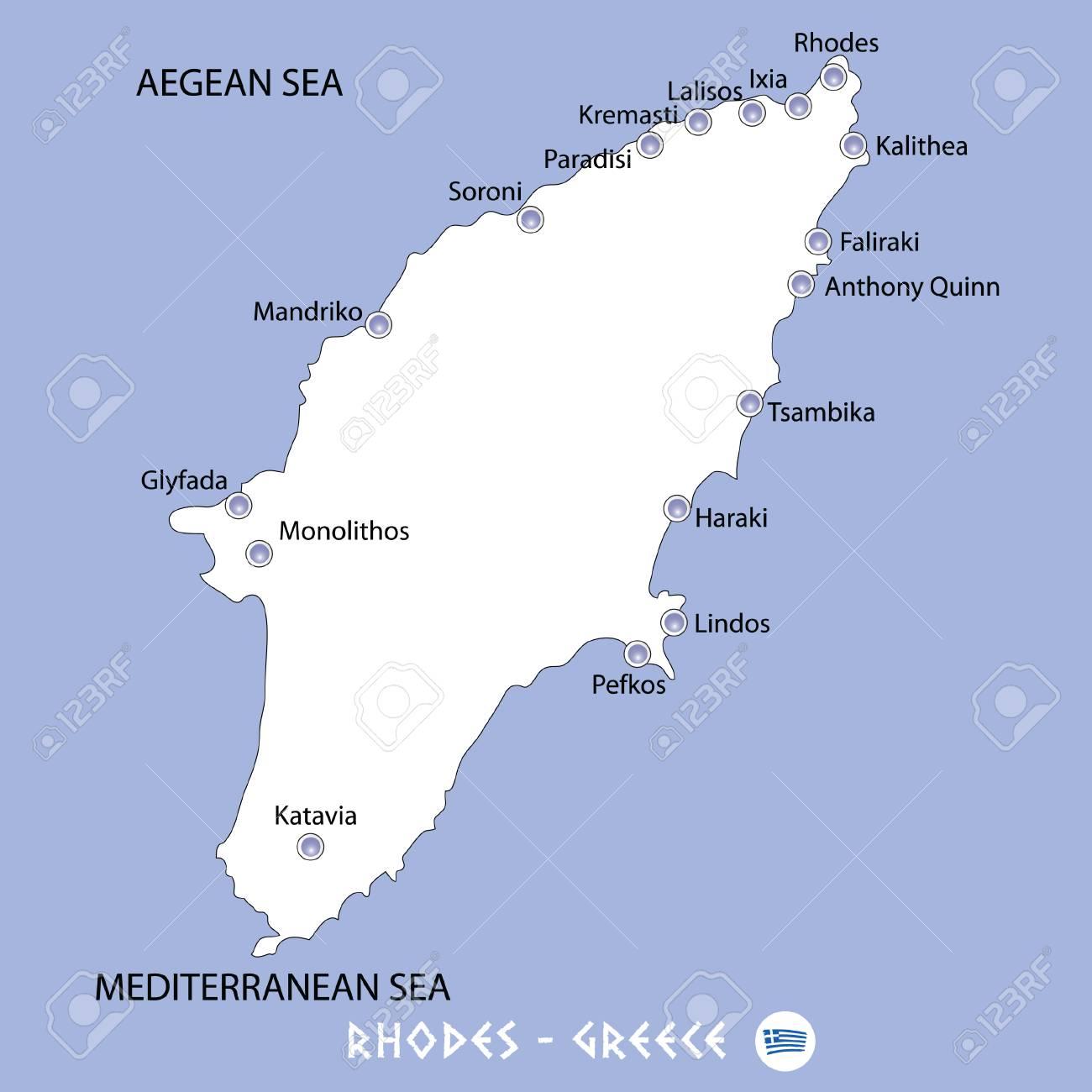 Isla De Rodas Mapa.Isla De Rodas En El Mapa Blanco De Grecia Y La Ilustracion Azul Del Fondo En Colorido