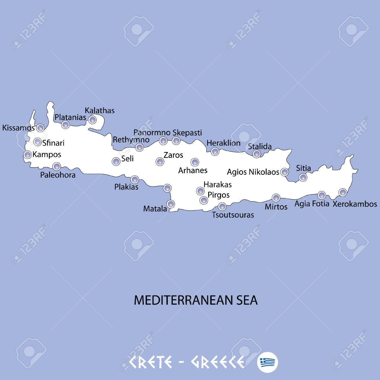 Griechenland Karte Kreta.Stock Photo