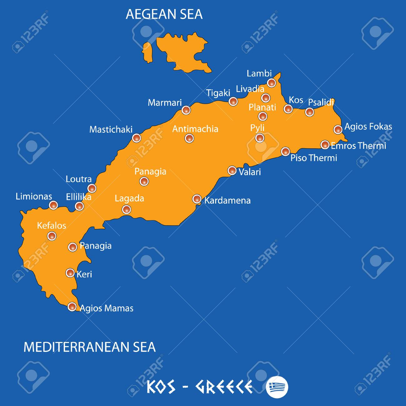 Island of kos in greece orange map art and blue background royalty island of kos in greece orange map art and blue background stock vector 87927979 gumiabroncs Choice Image